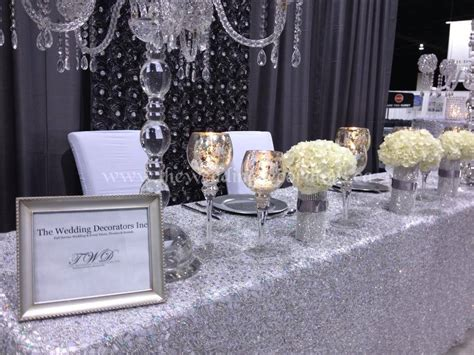 silver table decorations for wedding show booth decor silver white wedding