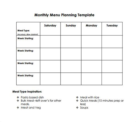 sample menu planning template 9 free documents in pdf word