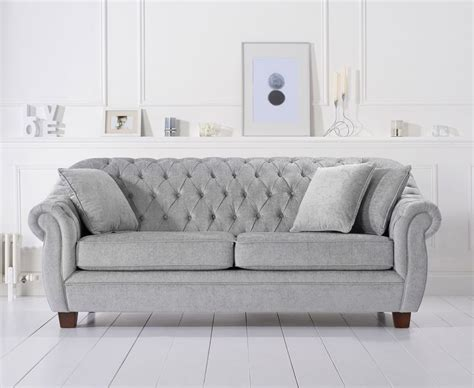 harris liv chesterfield grey plush fabric 3 seater sofa