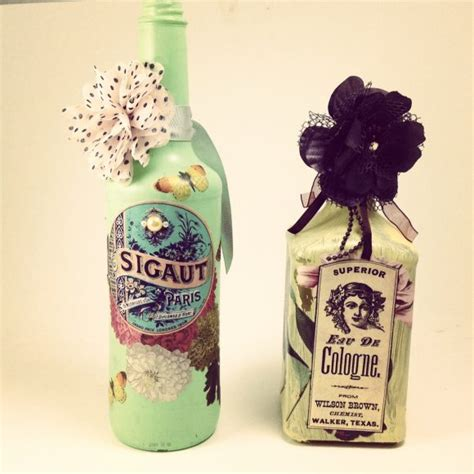 decoupage bottle ideas tutorial recycled altered decoupage bottles 187 dollar