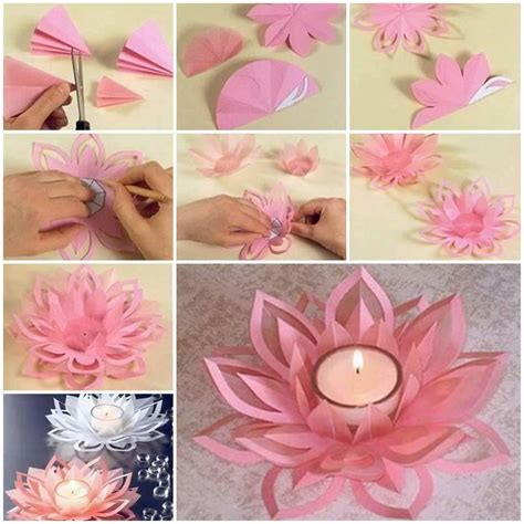 diy arts and craft projects learn how to make a paper lotus candle holder find