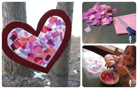 paper craft valentines craft tissue paper stained glass wee