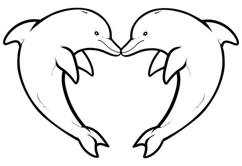 two dolphins forming a heart animals coloring pages