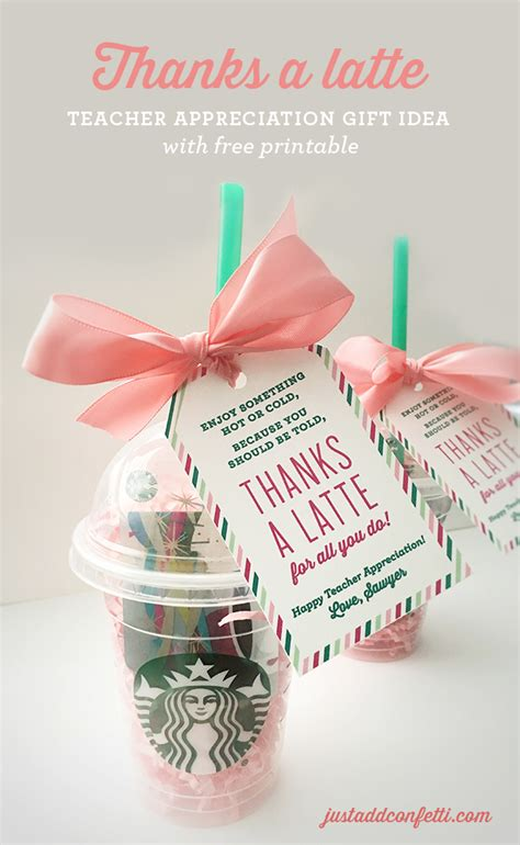 gift ideas thanks a latte appreciation gift idea with free