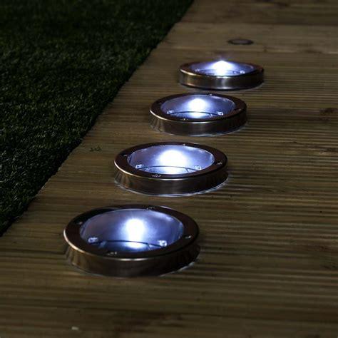 solar powered lights cost stainless steel solar deck lights white leds 4 pack