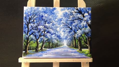 acrylic painting tutorial 49 05 pretty tree line road acrylic painting 2