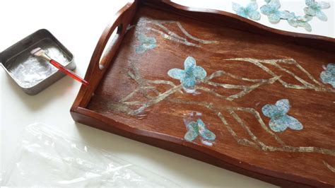 decoupage wooden tray decoupage on a wooden tray diy