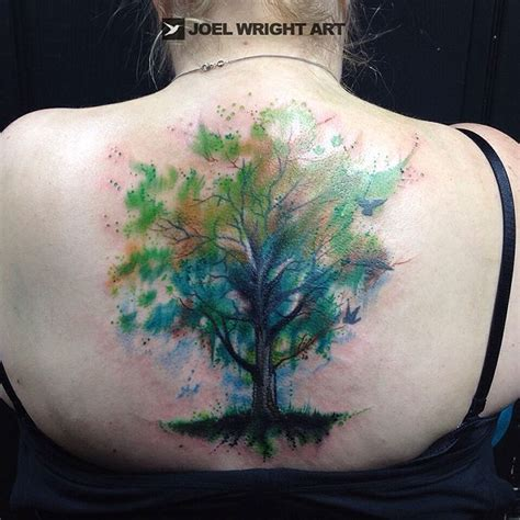 green tree of life watercolor tattoo joel wright art