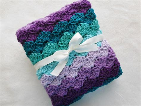 size of baby blanket for crib crochet baby blanket crib size purple by craftcottageboutique