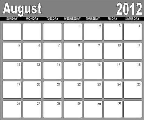 free printable august calendar 2012