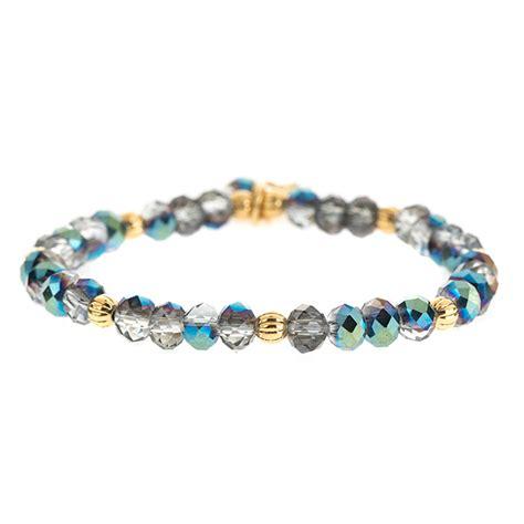 blue beaded bracelet silver blue refined beaded bracelet lenny