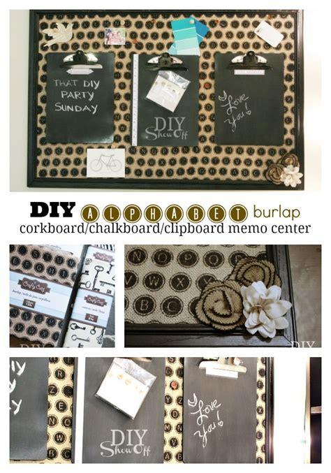 diy chalkboard message board diy alphabet burlap corkboard message centerdiy show