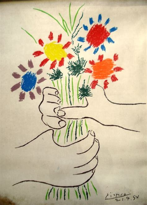 picasso paintings holding flowers picasso lithograph of holding flowers sight size