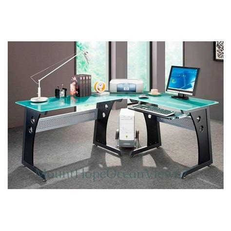 computer desk glass top glass top computer desk modern graphite corner gaming home