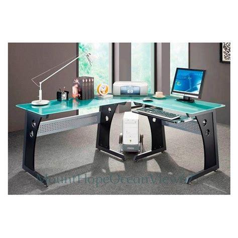 glass top office desk modern glass top computer desk modern graphite corner gaming home