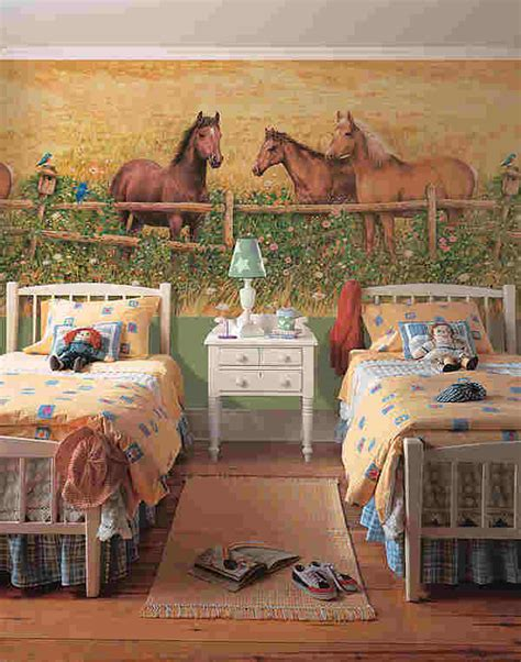 Horse Wall Mural horses at fence wall mural 252 72007
