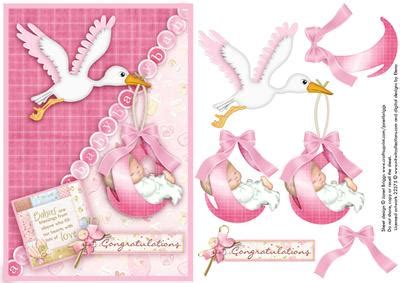 baby decoupage new baby stork topper and decoupage on craftsuprint