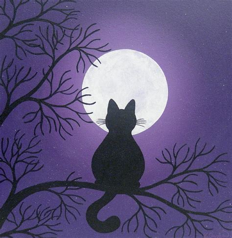 Black Cat In The Moonlight Painting