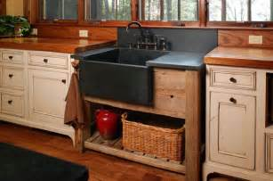 rustic kitchen sinks this rustic kitchen has a stand alone farmhouse sink in