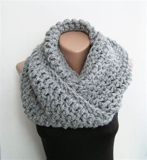 infinity scarf knitted snood gray chunky scarf crochet infinity by sascarves