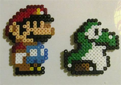 mario perler bead perler bead mario and baby yoshi by sonicdragon26 on