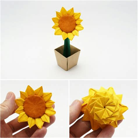 3d origami sunflower origami likable origami sunflower origami sunflower