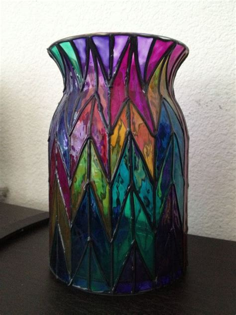 coloured for vases large chevron style multi colored glass vase