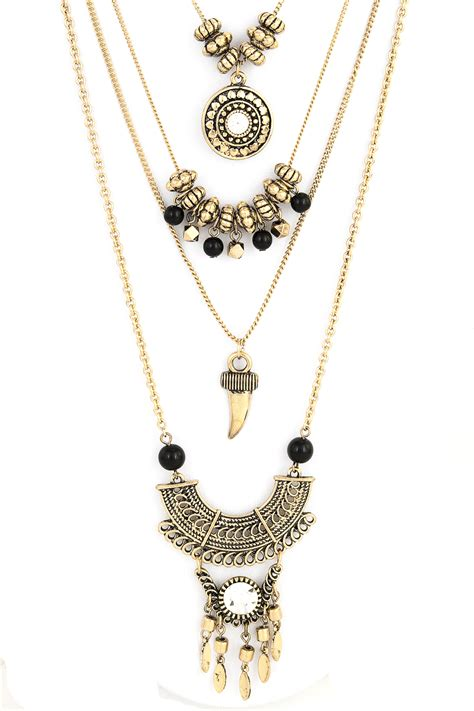 layered beaded necklaces layered textured metal beaded necklace set necklaces