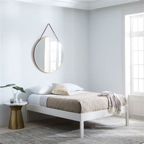 simple white bed frame simple bed frame white west elm