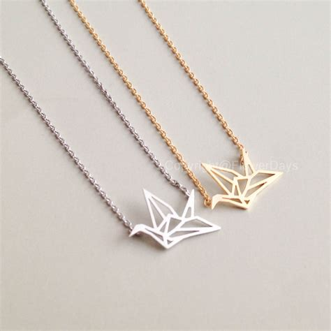 origami pendant origami crane necklace in gold on luulla
