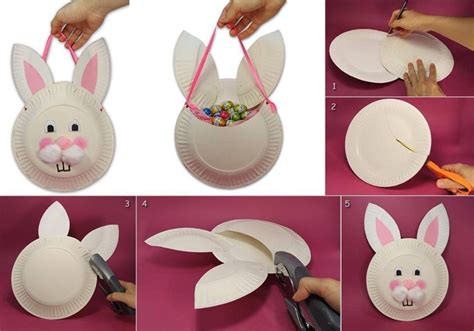paper plate bunny craft diy easter bunny basket from paper plate