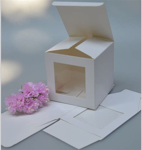 white paper crafts 9 9 9cm cube white paper box with clear window white paper