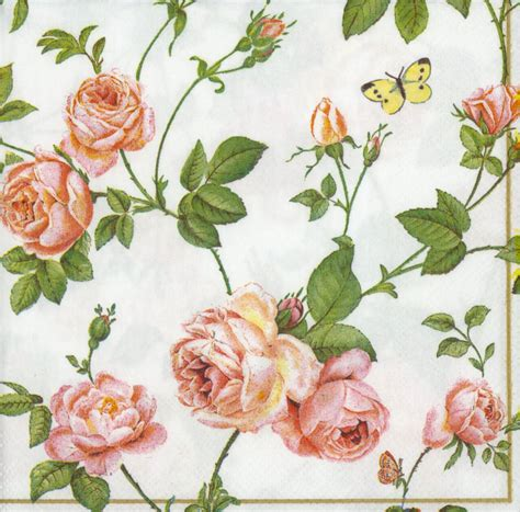 floral decoupage decoupage paper napkins of rambling pink roses blue