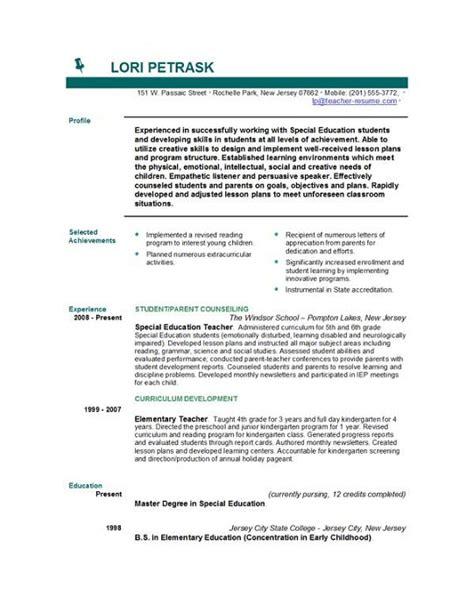 teacher experience in resume