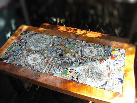 mosaic patio tables reclaimed wood mosaic patio table abodeacious