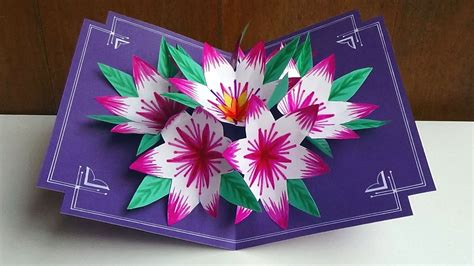 how to make 3d cards a 3d flower pop up card easy and simple steps