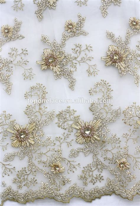 beaded lace fabric 2016 ivory bridal beaded lace appliques high fashion