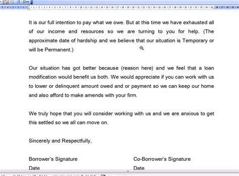 Modification Letter by Hardship Letter For Mortgage Modification Business