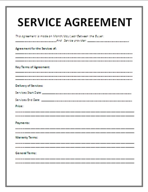 7 service agreement contract template timeline template