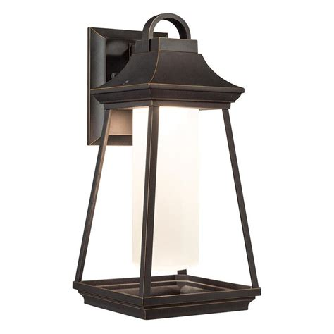 shop kichler hartford 15 in h led rubbed bronze outdoor wall light at lowes