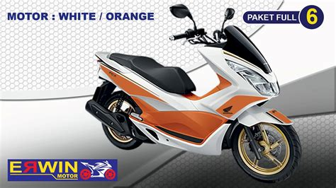 Pcx 2018 Modif by Modif Honda Pcx 2018 Warna White Orange