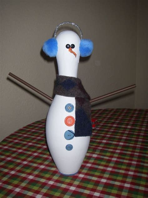 bowling pin craft projects upcycled bowling pin snowman