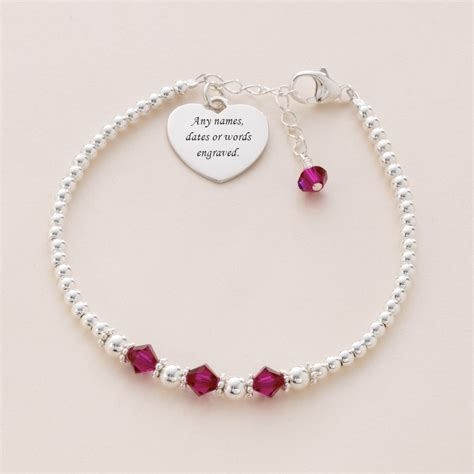 charming bead shop engraved silver bead bracelet with birthstones charming