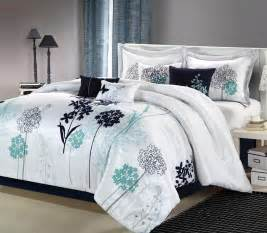 home bedding sets 8pc luxury bedding set white navy teal bedding