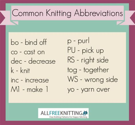 knit abbreviations common knitting abbreviations allfreeknitting