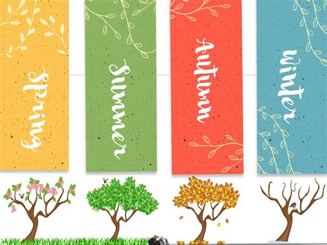 season of trees ppt backgrounds blue green multi color