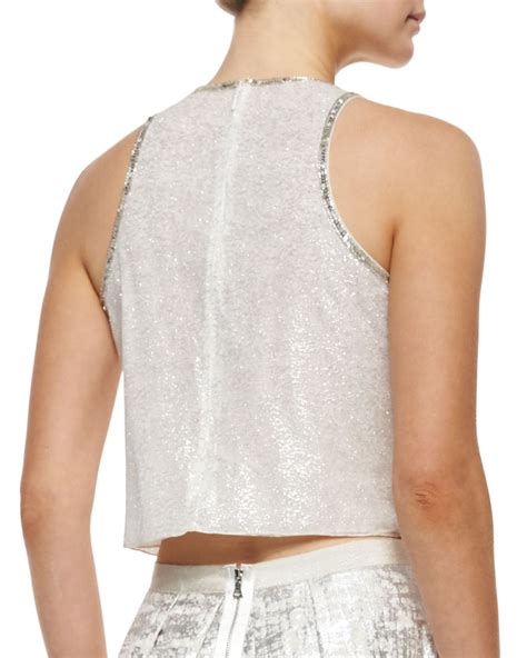 white beaded crop top phoebe sleeveless beaded crop top in white white silver