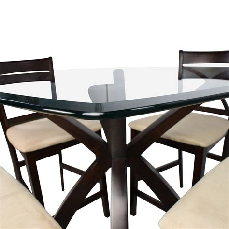 dining table and four chairs 53 counter height glass and wood table with four
