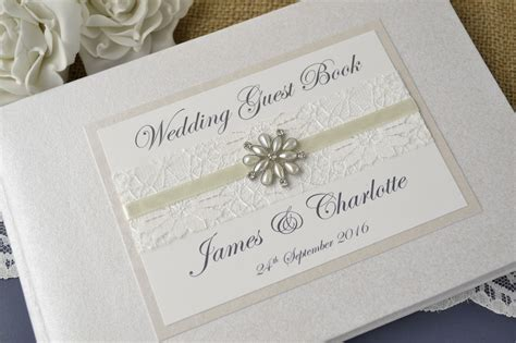 wedding guest book pictures ivory personalised wedding guest book vintage lace