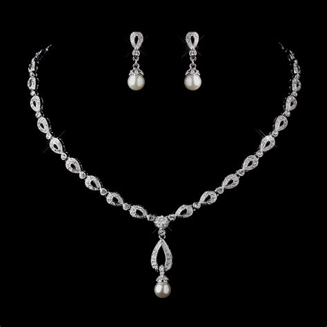 jewelry set stunning silver ivory drop pearl bridal jewelry set